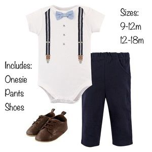 Cute and Cozy Suspenders 3 Piece Outfit